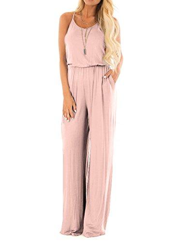 Women Summer Casual Loose Spaghetti Strap Sleeveless Open Back Wide Leg Long Pants Romper Jumpsuits Blush X-Large ()