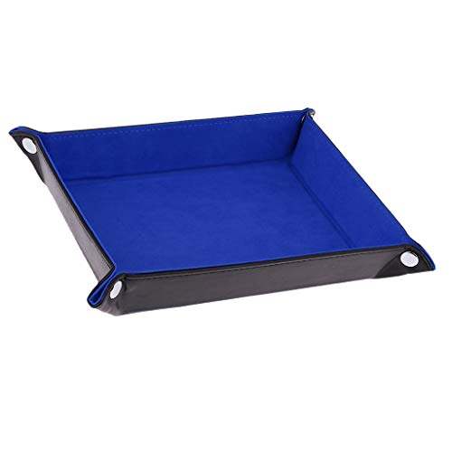 Fityle Blue PU Leather Foldable Dice Rolling Tray for Watch