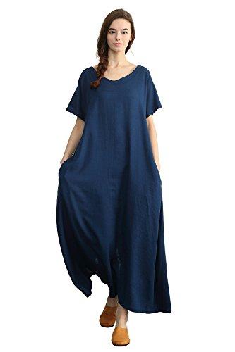 (Sellse Women's Linen Loose Summer Long Dress Plus Size Cotton Clothing,Dark-blue,XXX-Large)