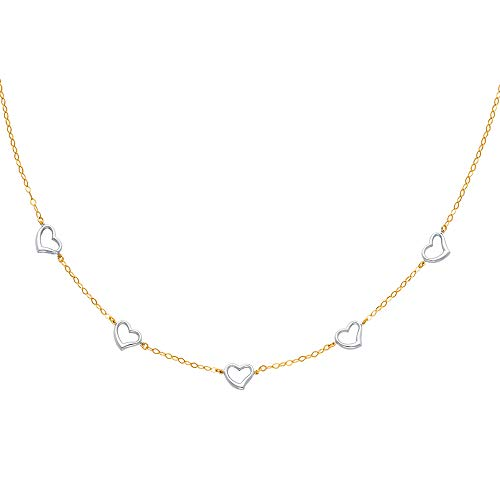 Wellingsale 14k Two Tone White and Yellow Gold Polished Heart Link Necklace - 17