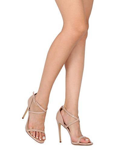 Alrisco Women Criss Cross Stiletto Sandal - Open Toe Strappy Heel - Dressy Wedding Night Out Formal Special Occasion - HC84 by Liliana Collection Nude Patent tvJ7KPS