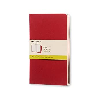 Moleskine Cahier Journal (Set of 3), Large, Plain, Cranberry Red, Soft Cover (5 x 8.25) Soft Cover Notebook for Use as Journal, Sketchbook, Composition Notebook