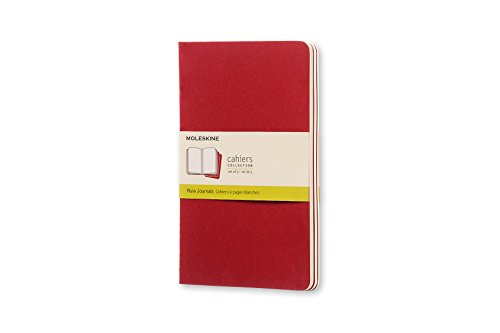 """Moleskine Cahier Journal, Soft Cover, Large (5"""" x 8.25"""") Plain/Blank, Cranberry Red, 80 Pages (Set of 3)"""