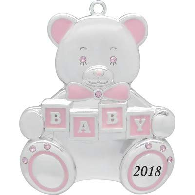 Baby Boy Teddy Bear 2017 Baby's First Christmas Hanging Ornament Engravable Silver-plated With 9 Swarovski Crystals ()