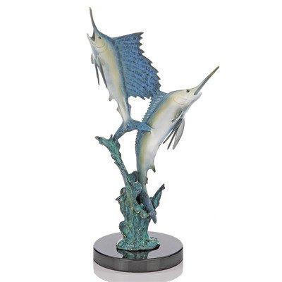Blue Marlin Sculpture - San Pacific International 13H in. Islamorada Two Step Marlin and Sailfish Statue