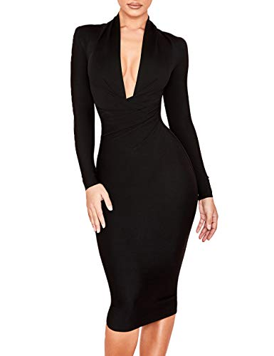 Black Designer Dress - UONBOX Women's Deep Plunge V Neck Long Sleeves Draped Knee Length Bodycon Bandage Dress (L, Black)