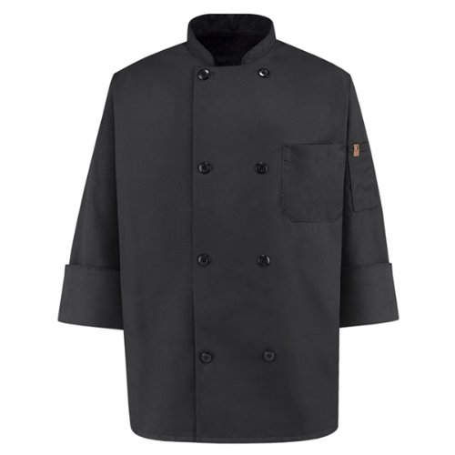 Red Kap Chef DesignsEight Pearl ButtonBlack Chef Coat, Black, Medium