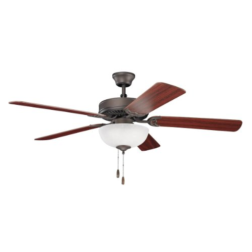 Kichler Lighting 403SNB Basics Select 52IN 3LT Ceiling Fan, Satin Natural Bronze finish with Reversible Blades and White Glass