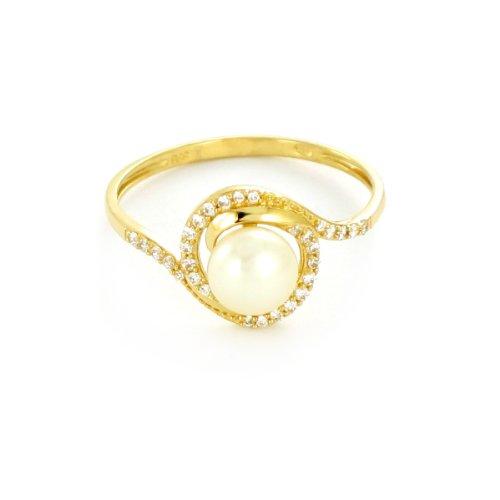 Tous mes bijoux - BATO02002 - Bague Femme - Or jaune 375/1000 1.09 gr - Oxyde de zirconium - Perle d'eau douce - Blanc