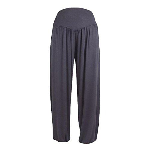 Dance Ringer (Womens Elastic High Waist Loose Yoga Pants Pleated Wide Leggings Fitness Running Gym Dance Ringer Trouser (XL, Dark Gray))