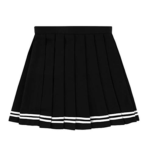 (MSemis Women's School Uniforms Pleaded Mini Skirts High Waisted Flared Sport Skater Skirts Plus Size Black Large)