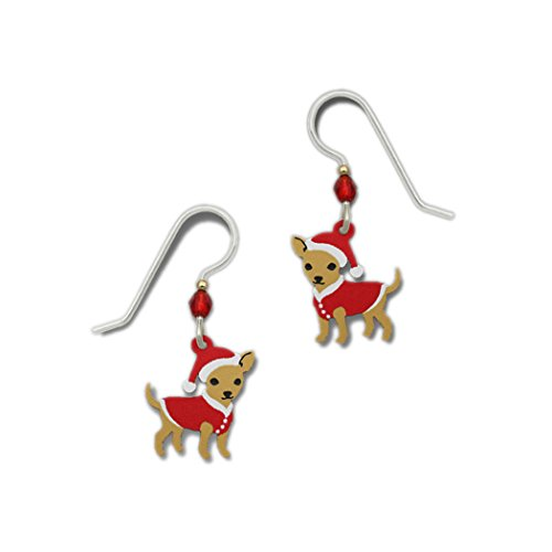 - Christmas Theme Chihuahua with Red Sweater and Santa Hat Dangle Earrings By Sienna Sky 1614