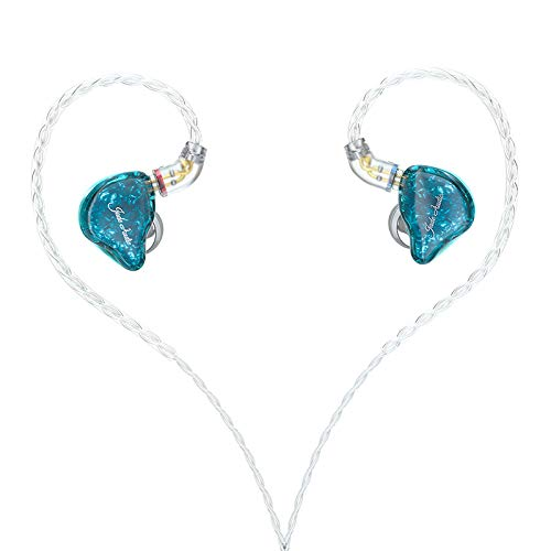 Jade Audio(FiiO's sub-Brand) EA3 HiFi 1BA(Knowles)+1Dynamic Hybrid Earphone IEM Stereo Bass Earphone with 0.78 2pins Detachable High Purity Silver-Plated Cables(Without Mic,Wathet-Blue)
