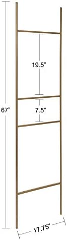 Kate and Laurel Poggi Metal Leaner Ladder Valet, 17.75 x 67 , Gold, Glam Sophisticated Wall Decor Accent