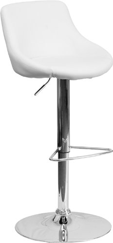 Flash Furniture 2 Pk. Contemporary White Vinyl Bucket Seat Adjustable Height Barstool with Chrome Base (Buckets Bar)