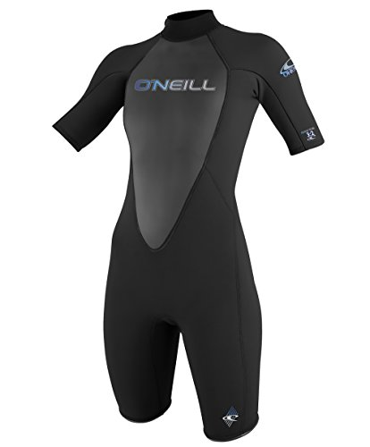O'Neill Wetsuits Womens 2 mm Reactor Short Sleeve Spring Suit, Black, 6 Fluid Womens Skis