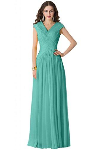 sunvary gasa sin mangas Draped volantes mujer elegante dama Prom Fiesta Hunter Verde