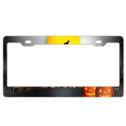 YEX Abstract Halloween night5 License Plate Frame Car Licence Plate Covers Auto Tag Holder 6
