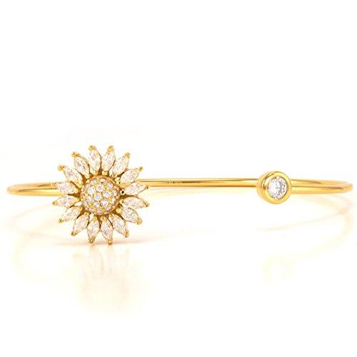 Gold Plated 925 Sterling Silver CZ Baguette Daisy Sunflower Bezel Open Cuff Bracelet