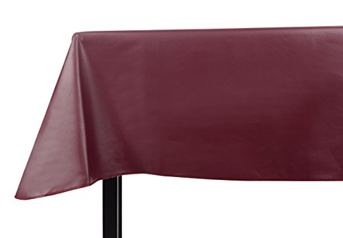 Yourtablecloth Heavy Duty Vinyl Rectangle or Square Tablecloth - 6 Gauge Heavy Duty Tablecloth - Flannel Backed - Wipeable Tablecloth with Vivid Colors & Many Sizes 52 x 52 Burgundy