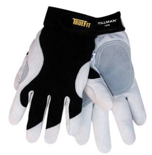 Tillman Large Black And White TrueFit Full Finger Top Grain Goatskin And Spandex® Premium Mechanics Gloves With Elastic Cuff, Double Leather Palm, Reinforced Thumb And Smooth Surface Fingers (Double Cuff Gloves)