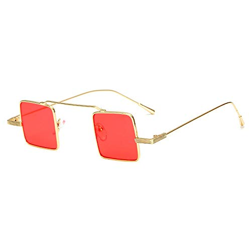 MINCL/Stylish Retro Metal Frame Square Lens Literary Color Small Sunglasses (gold-red, gold-red)