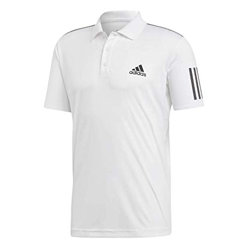 adidas Men's Club 3-Stripes Tennis Polo Shirt, White/Black, Large
