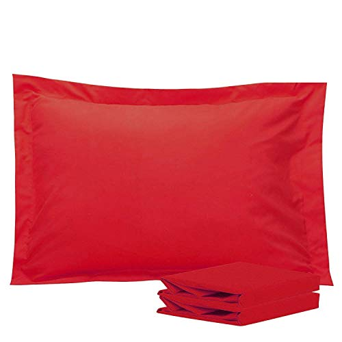 FLXXIE Standard Shams, Pillowcases, Pack of 2, 100% Brushed Microfiber, Ultra Soft, - Standard Sham Red