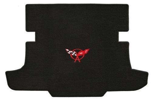 (C5 Corvette Coupe Classic Loop Black Trunk Mat - Red Crossed Flags Logo)