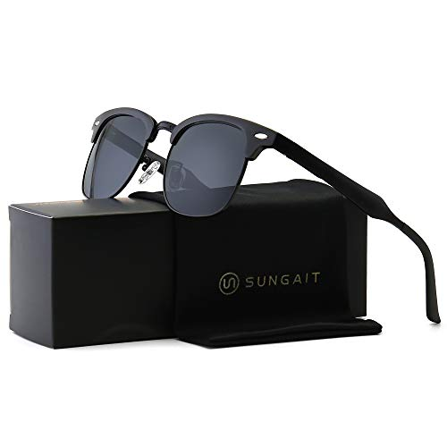 SUNGAIT Classic Half Frame Retro Sunglasses with Polarized Lens (Black Frame Gray Lens)