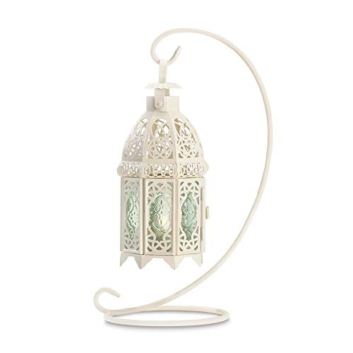 White Fancy Lantern with Stand - Standing Arc Light Hanging Lamp - Mini Silver Candle Lanterns - Flickering LED Tea Light Candle - Decorative Hanging Lantern Christmas Decoration - Home Lighting Acc