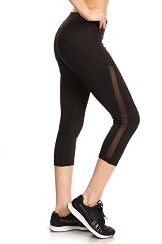 Sejora Satina Yoga Pants & Capris Activewear Exercise Leggings w/Designs & Mesh (X-Large 03 Black)