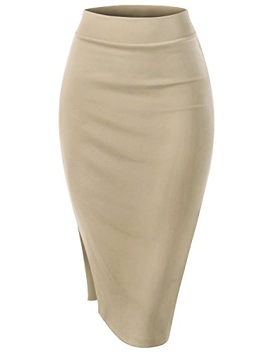 Womens Skirt Beige (Regna X Women Body Conscious fit Formal Feminine Beige Large H line Side Slit Midi Skirt)
