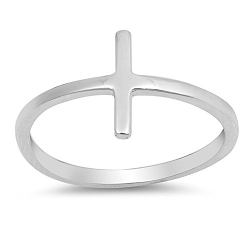 Sideways Cross Bar Stackable Love Ring New .925 Sterling Silver Band Size 6