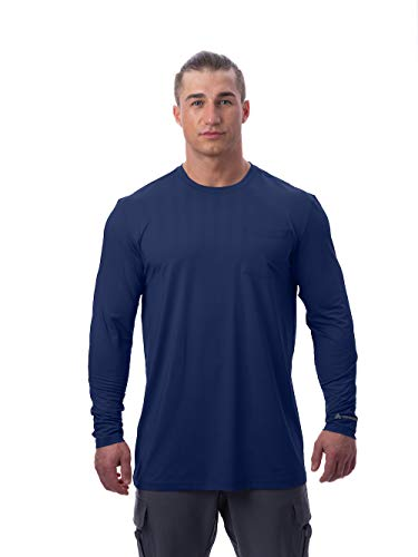 Arctic Cool Men's Instant Cooling Long Sleeve Pocket Workwear Shirt Performance Tech Breathable UPF 50+ Sun Protection Moisture Wicking Comfortable Work Quick Drying Top, Midnight Navy, XXL