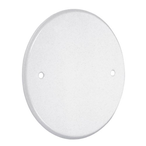 TayMac LPB3400 Flat Blank 5-Inch Round Standard Metallic Wallplate, White (Cover Plate For Wall Holes In Drywall)