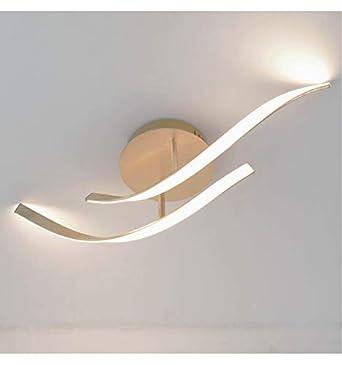 Lustre Plafonnier LED forme dynamique feuille dorée - Lagoa - EN ...