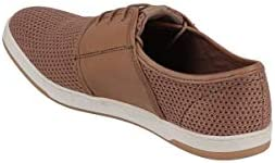 Base London Sneaker Uomo Jive Leggera Stringata Tela E Pelle Tan Cuoio - 43, Tan