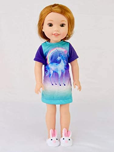"""Purple Rabbit Nightgown Pajamas Fits Wellie Wishers 14.5/"""" American Girl Clothes"""