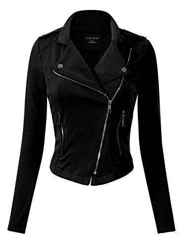 Design by Olivia Women's Slim Fit Long Sleeve Zip-up Moto Jacket Black M