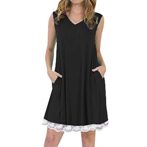 Tantisy ♣↭♣ Women's Summer Sleeveless Casual Loose Swing T-Shirt Dress with Pockets Pleated Lace Hem Design/S-5XL Black