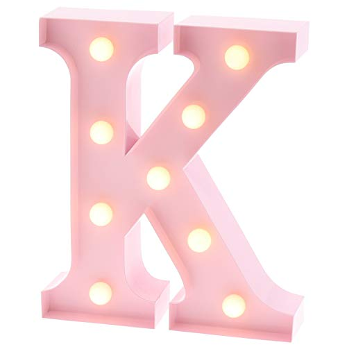 Barnyard Designs Metal Marquee Letter K Light Up Wall Initial Nursery Letter, Home and Event Decoration 9 (Baby Pink)