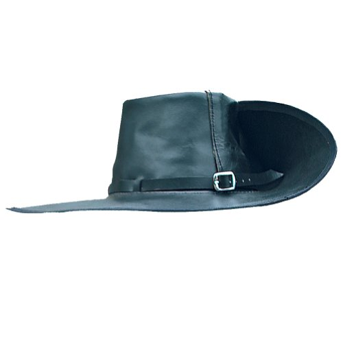 Black Musketeer Hat (Period Clothing - Leather Cavalier Hat - Medium (Left Brim Up) - Black)