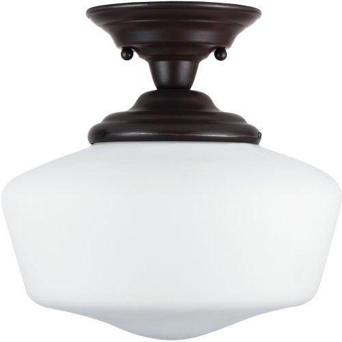11 1/2' Three Light (Sea Gull Lighting 77436-782 Academy One-Light Semi-Flush Mount Ceiling Light with Satin White Glass, Heirloom Bronze Finish)