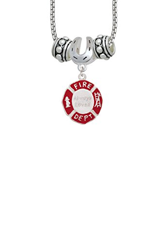 Always Loved Fire Department Shield Horseshoe 3 Bead Necklace