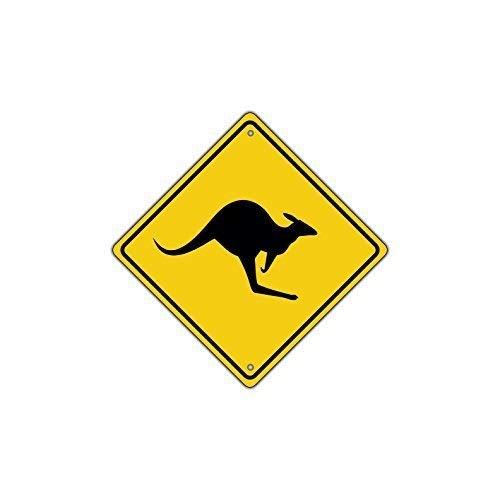 Road Kangaroo Sign (Shirllyn New Quality Metal Road Sign Kangaroo with Graphic Symbol Crossing Funny Yellow Diamond Tin Sign Home Decor 12x12 Inches)