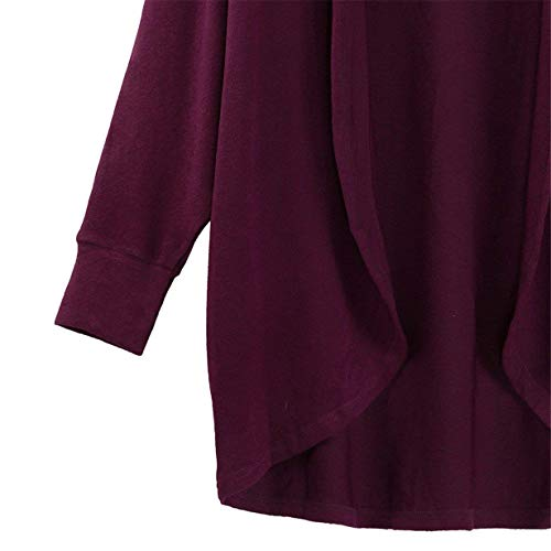 Irregularmente Larga Sólido Cómodo Lila Color Fashion Outwear Chaqueta Asimetricas Primavera Abrigos Otoño Casuales Cardigan Anchas Elegantes Ropa Manga Mujer Xtg8qq