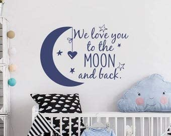 Wall Decals for Kids Wall Decal Stars Nursery Wall Decal Kids Room Decor 22 Inch in Width We Love You to The Moon and Back Wall Decal Baby Nursery