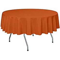 Ultimate Textile -10 Pack- 84-Inch Round Polyester Linen Tablecloth - for Wedding, Restaurant or Banquet use, Orange