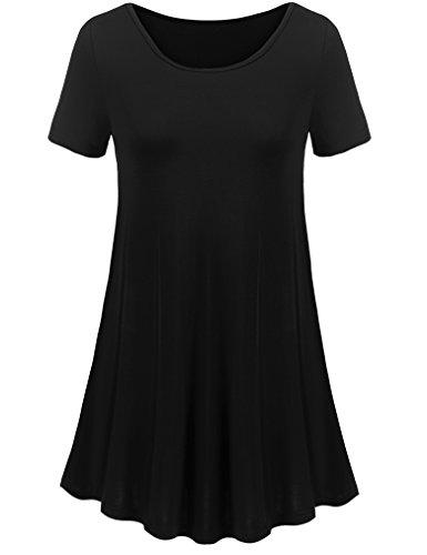Uvog Women Short Sleeves Flare Tunic Tops For Leggings Flowy Shirt (XL, Black)